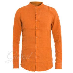 Camicia-Uomo-Collo-Coreano-Tinta-Unita-Arancione-Lino-Maniche-Lunghe-GIOSAL