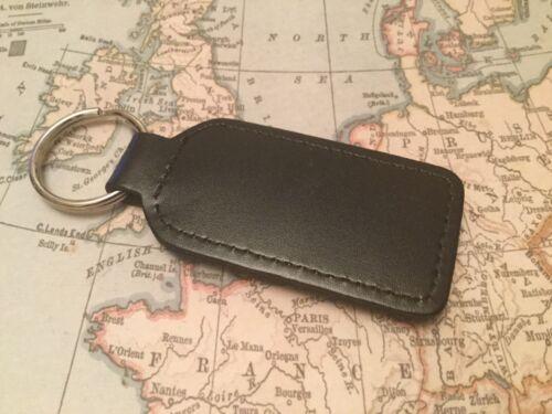 Aston Martin Noir Qualité Noir Cuir Véritable Porte-Clé Oblong