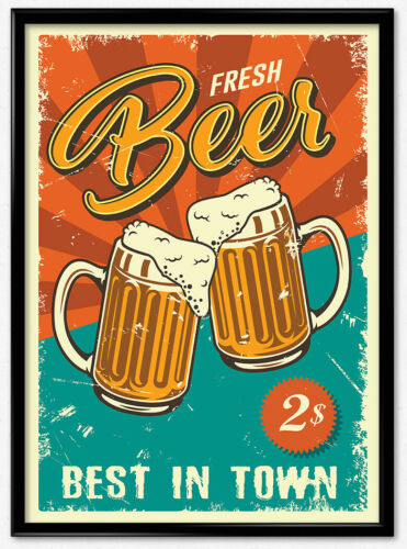 Wandbild Poster Bier Alkohol Werbung Retro Vintage Geschenk Deko Bild A3 A4