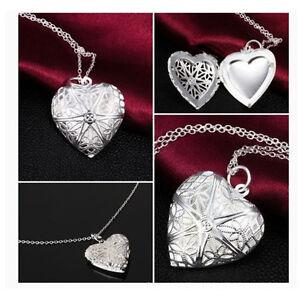 NEU-Mode-Halskette-Herzen-Medaillon-Silber-Liebe-Herz-Anhaenger-Kette-Foto-V7A2