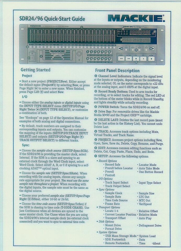 Harddisk recorder, Mackie SDR 24/96