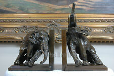 Signed Milo, Bronze Statue two elephant book end bookend bronze sculpture