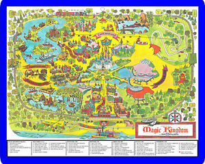 Walt Disney World Magic Kingdom theme park map from the 1970's metal sign