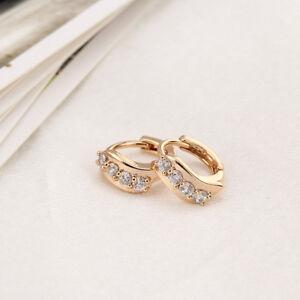 Crystal-Zircon-1Pair-Fashion-18K-Gold-Plated-Ear-Hoop-Earring-Women-Girl