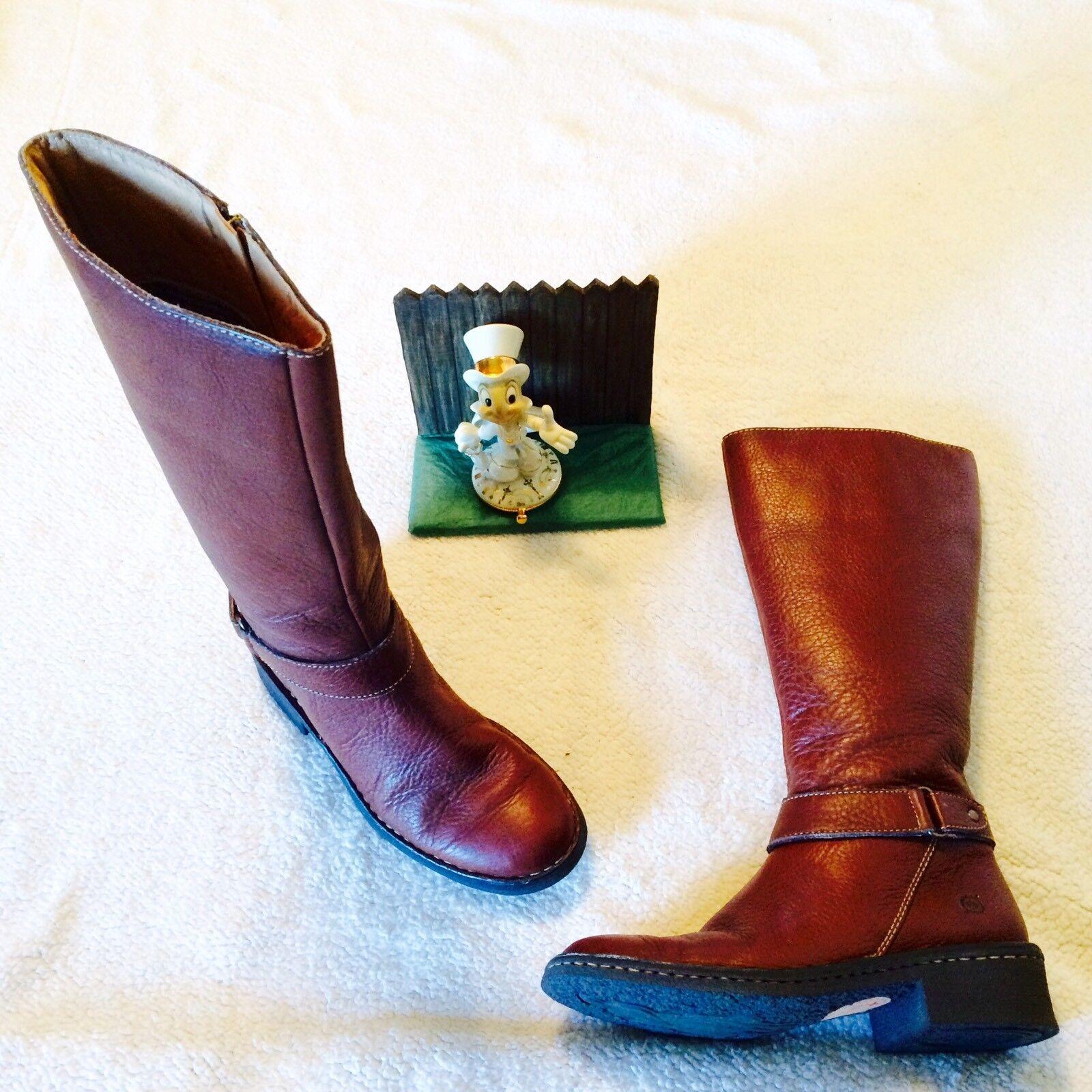 Born Marronee Leather Tall Riding stivali.. Displays... Minimal Wear.. W9777 6   36.5