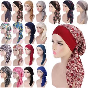 Femme-Musulmane-Hijab-Cancer-Chimio-Chapeau-Turban-Cap-couverture-perte-de-cheveux-tete-echarpe-Wrap