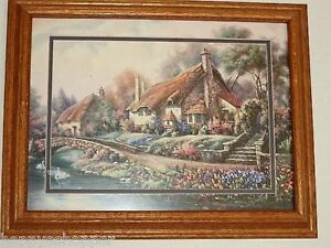 Carl-Valente-Village-Selworthy-Print-Double-Matted-Oak-Frame-Glass-English-19-034