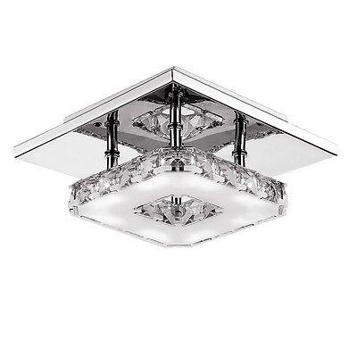 Modern Crystal LED Ceiling Pendant Lamp Stainless Steel Fixture Light For Home