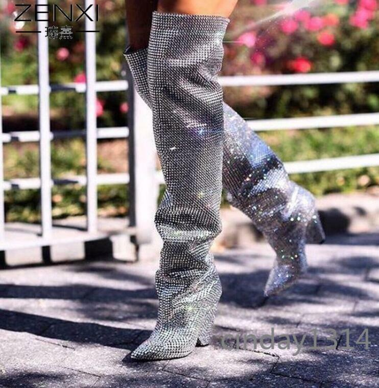 Rhinestone Glitter  Embellished Casual Coverouge Knee High démarrage Real Leather bottes