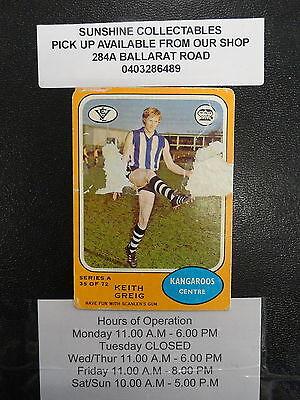 1973 A Scanlens Card No. 35/72 Keith Greig North Melbourne Fair