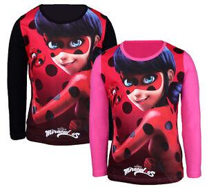 Girls Miraculous Ladybug T-shirt Short /& Long Sleeve Kids Top Age 4-12 Years