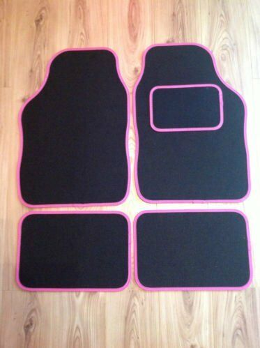 BLACK WITH PINK TRIM FOR KIA VENGA CEED SOUL RIO NIRO UNIVERSAL CAR FLOOR MATS