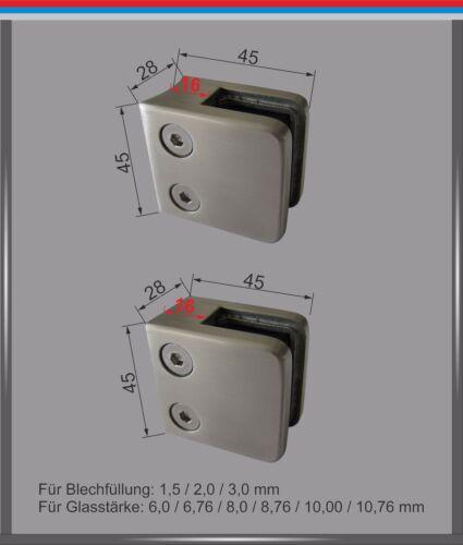 Supporto in Vetro Acciaio Inox V2A Morsetto di Mini Maxi Ringhiere Eckig Rotondo