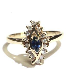 10k-yellow-gold-21ct-VS1-G-blue-sapphire-diamond-womens-ring-3-2g-ladies-estate