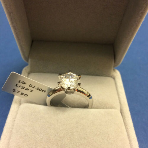 2 CT ROUND CUT DIAMOND SOLITAIRE ENGAGEMENT RING 14K WHITE GOLD Finish 5