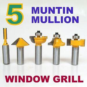 5pc-1-2-Shank-Grill-Glass-Muntin-Mullion-Round-Over-Door-Router-Bit-Set-S