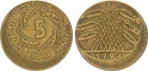 5 Pfennig 1924 e Fehlprägung 10% dezentriert ohne Riffelrand ss 63772