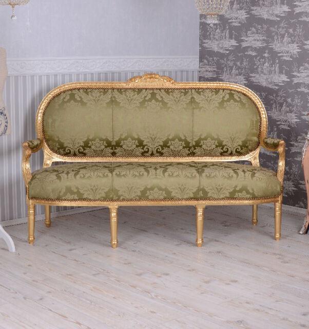 Barock Sofa Marie Antoinette Salonsofa Weiss Gold Rokoko Liege Sitzbank LOUIS xv