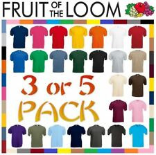 5 or 3 Pack Mens Fruit Of The Loom 100% Cotton Plain Tee shirts T Shirt T-Shirts