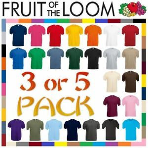 5-or-3-Pack-Mens-Fruit-Of-The-Loom-100-Cotton-Plain-Tee-shirts-T-Shirt-T-Shirts