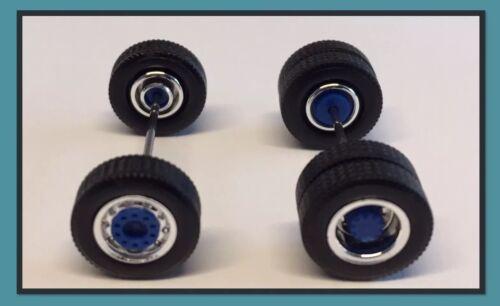 Chrom//Blau mit Breitreifen Herpa  MIS 0106 Medi Zugmaschine Komplettachsen