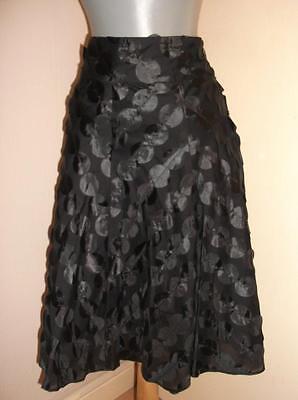 Phase Eight Goth BLACK cotton spotty applique flippy swing party SKIRT 10 UK