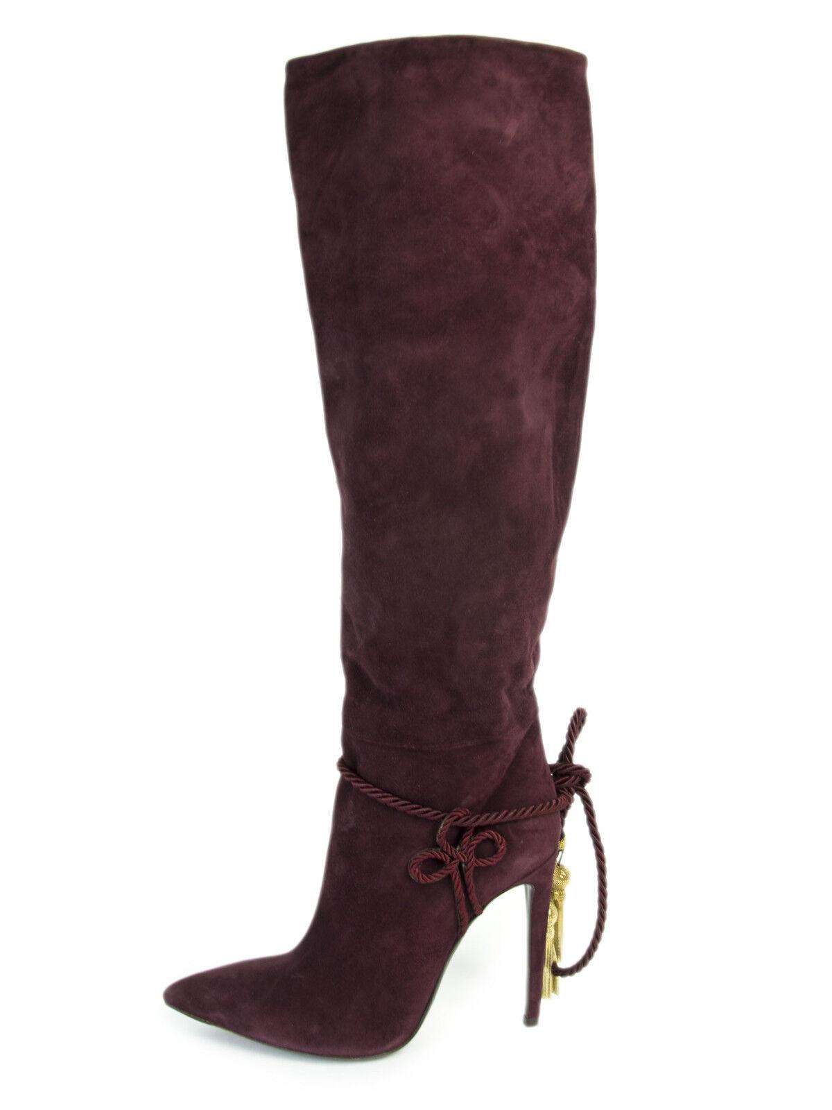 Ralph Lauren Violet Étiquette Talisse Bordeaux Franges en en en Daim Bottes Taille 8 8cdb17