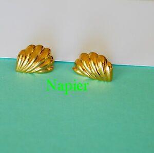 "Sea Shell Signed Napier Vintage Earrings Seashell Posts Stud Gold Plated Tone 1"""