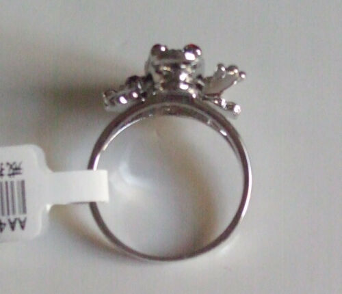 NWT Red Eyes Rhinestones Silver Tone Lucky Frog Legs Movable Rings Size 6-9 Gift