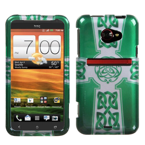For HTC EVO 4G LTE HARD Protector Case Snap On Phone Cover 2D Green Celtic Cross