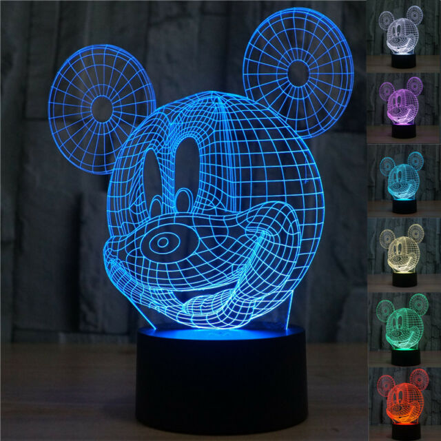 3D LED Mouse Bulbing Illusion Bedroom Night Desk Light Lamp 7color  Disney Mickey