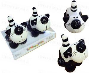 Novelty cat salt and pepper shaker pots mill set black and white kitten ebay - Novelty pepper mill ...