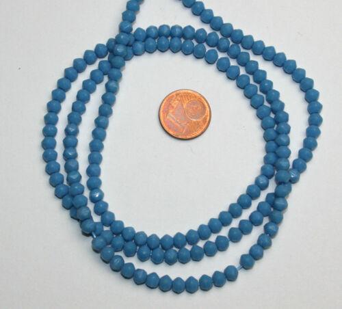 Strang 64 cm opal blaue zwischen Perlen cornerless beads aus Böhmen 5 mm