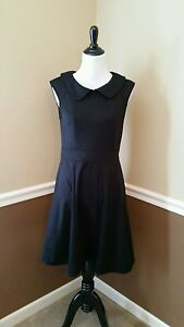 NWT-Modcloth-Dress-L-Black-Foxtail-amp-Fern-Peter-Pan-Collar-Retro-Sunny-Girl-LBD