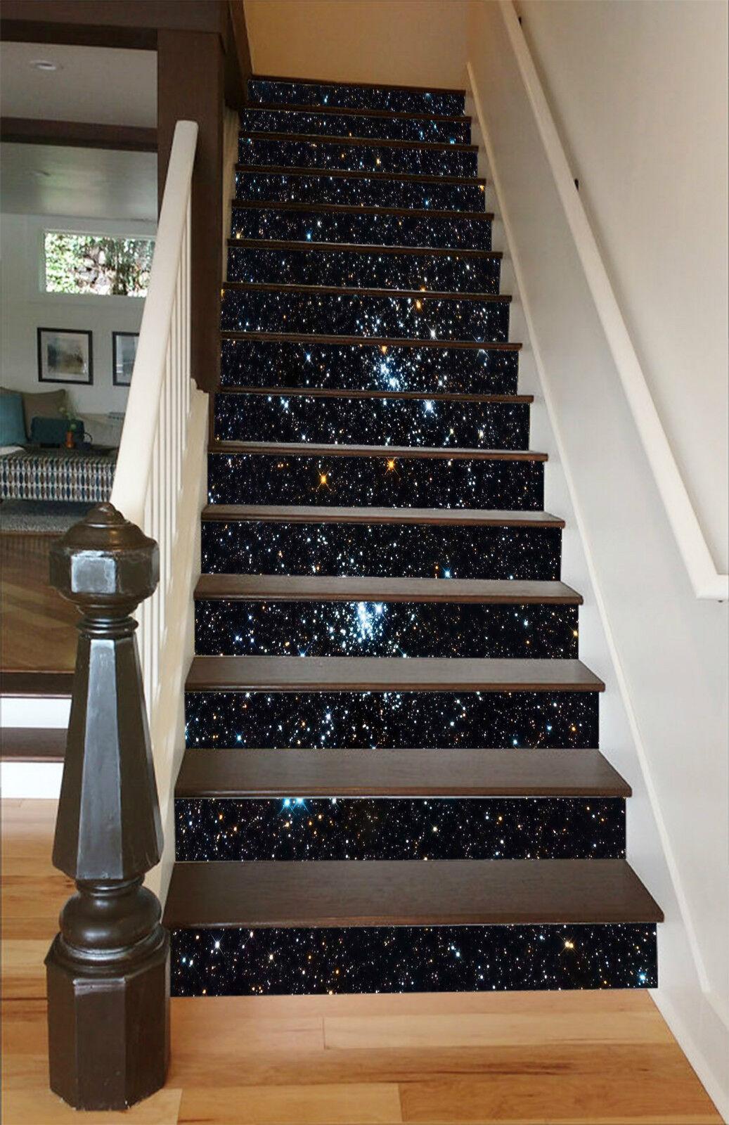 3D Glänzende Sterne Stair Risers Dekoration Fototapete Vinyl Aufkleber Tapete DE