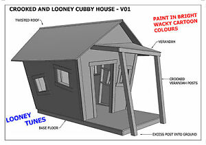 Crooked cubby house play house v05 building plans for Crooked house plans