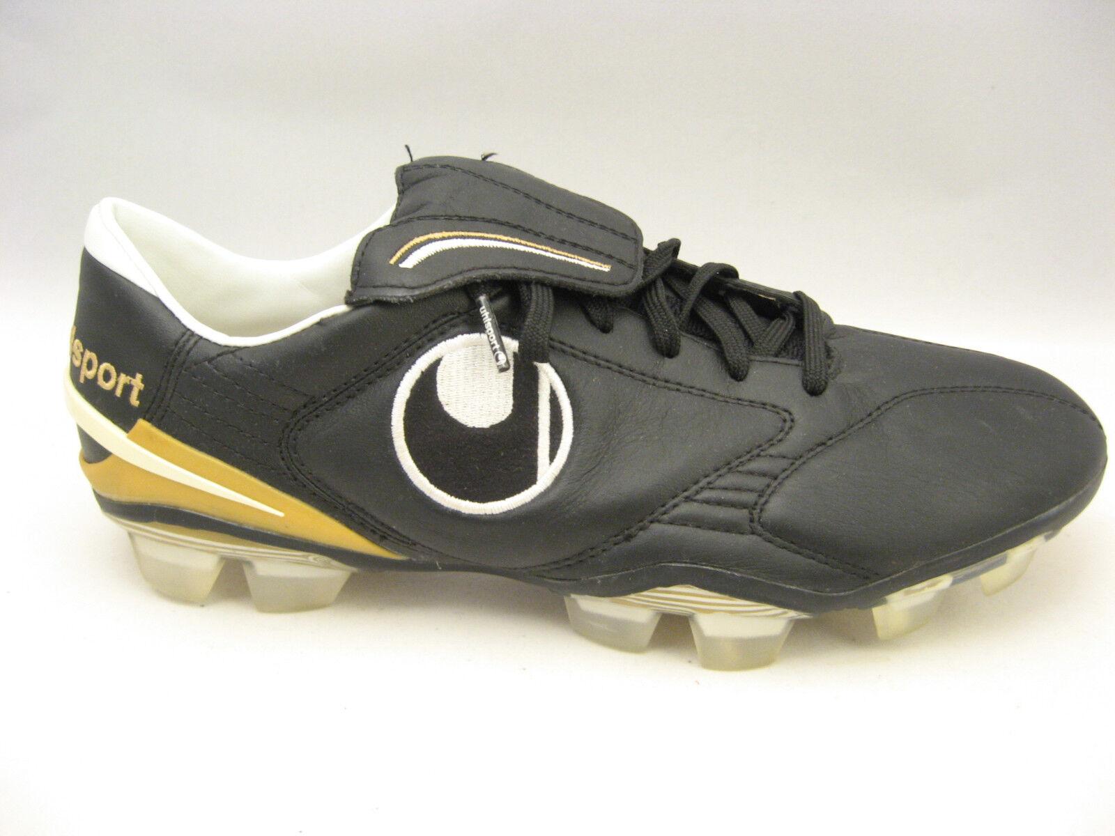 uhlsport Mens Kickschuh Legend FXG Soccer Cleats 12 Black Gold Football Boots