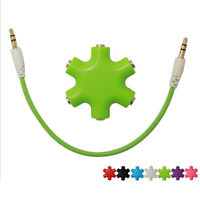 High Quality 6 port Headphone Headset deconcentrator Audio Earbuds Adapter