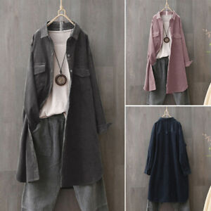 Womens-Long-Sleeve-Casual-Loose-Corduroy-Trench-Coat-Top-Shirt-Blouse-Oversized