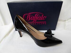 BUFFALO-London-escarpins-CUIR-vernis-noir-sexy-t-39-PARFAIT-ETAT