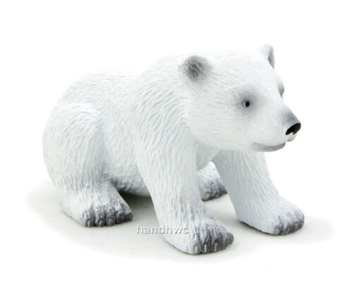 NIP Mojo Fun 387021 Polar Bear Cub Sitting Realistic Wild Animal Toy Replica