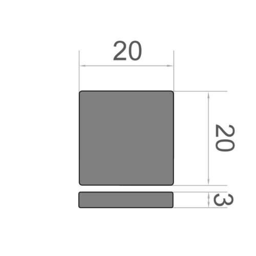 Supermagnet N38 10er Set Quadermagnet  20x20x3 mm Neodym vernickelt