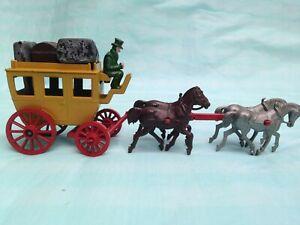 Vintage rare Morestone Ye Olde Coach et quatre chevaux