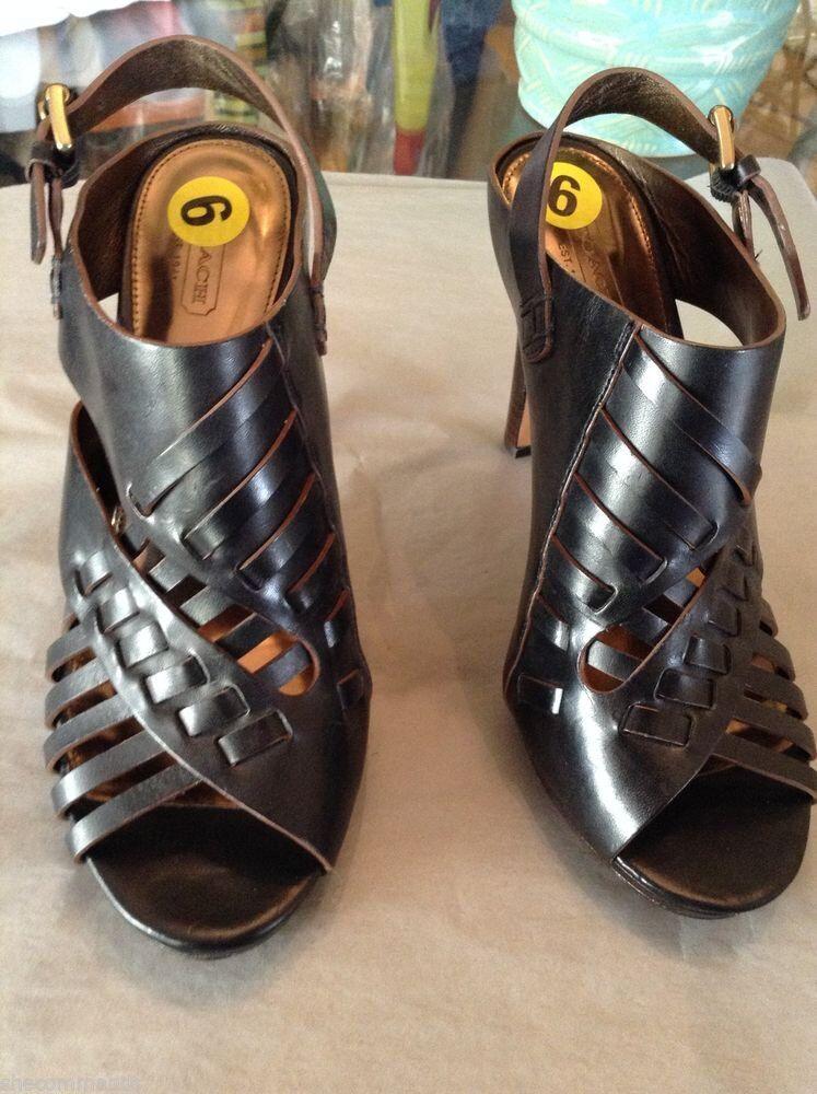Retail ks Fifth Avenue Gold Peep-Toe Crisscross Leather Sandals Sz 9B
