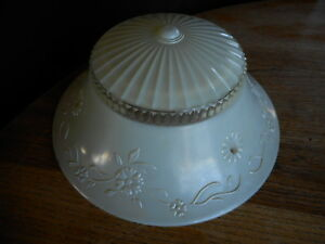 Vintage Frosted White Glass Ceiling Light Lamp Shade Only Restoration 1920's
