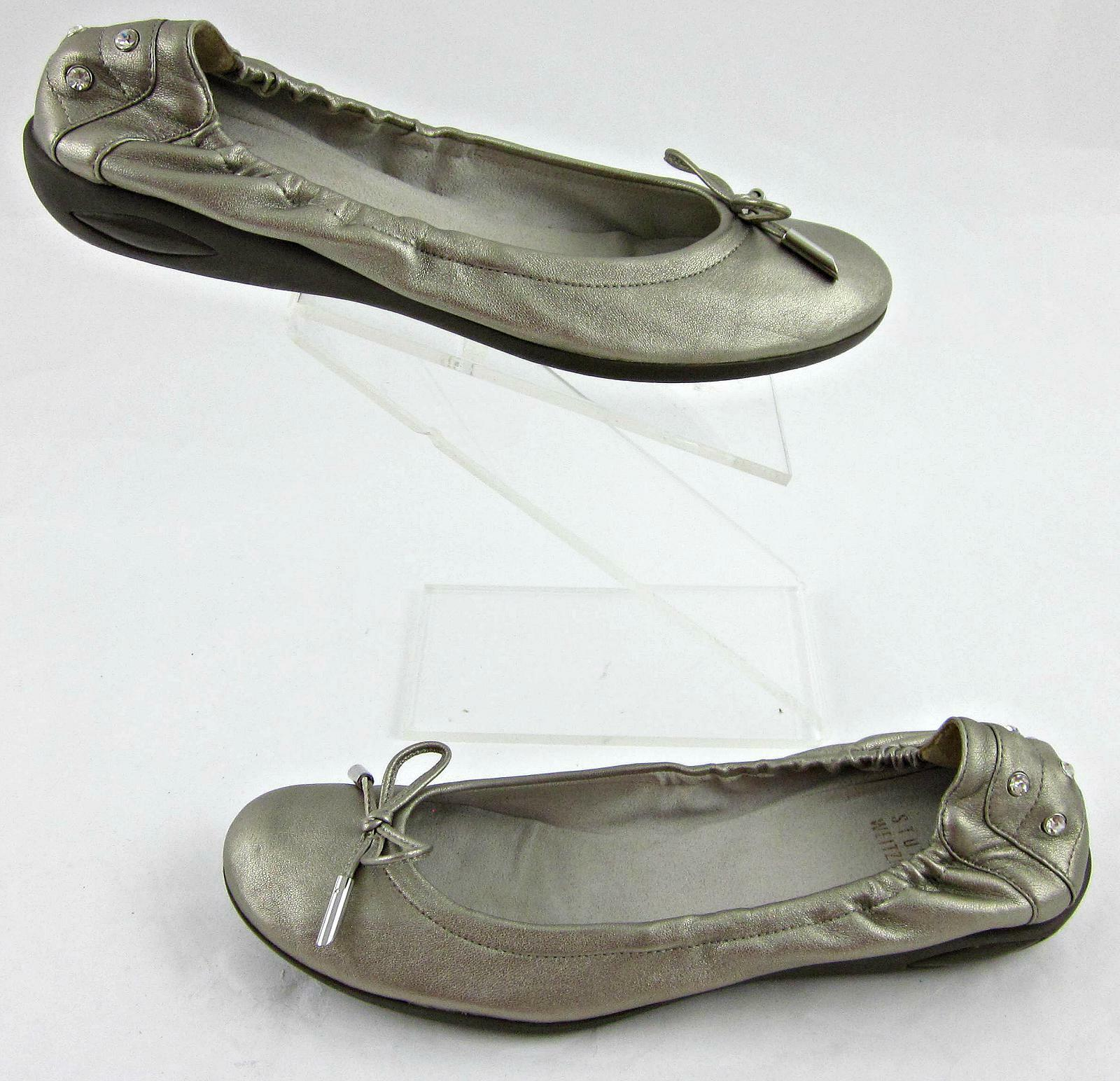 Stuart Weitzman Bow Tie Ballet Flats Bejeweled Heel Accents Pewter Leather 6M