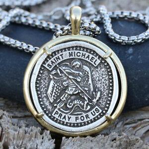 "Archangel Saint /""St Michael Protect Us/"" Pray Prayer Pendant Medal Necklace Chain"