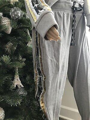 NIP Victoria's Secret Pink Silver Gold Bling Sequin Skinny Jogger Pants Large
