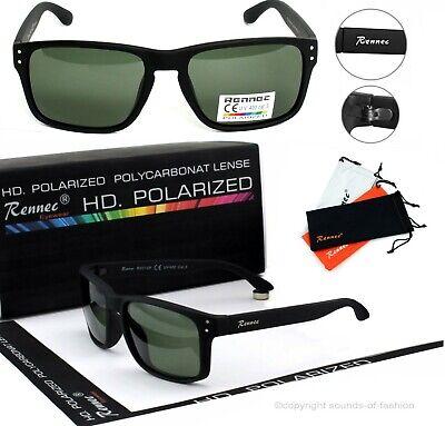 Rennec Herren Sonnenbrille Nerd Polarisiert Schwarz Matt Grün Getönt 16P