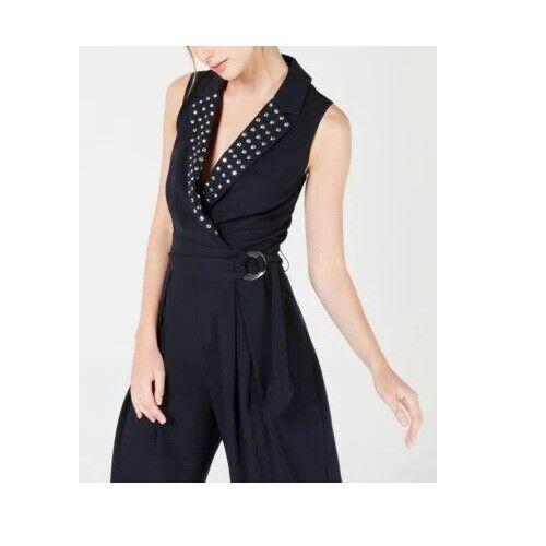 XOXO Womens Embellished Neck Sleeveless Romper